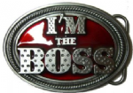 I'M THE BOSS Belt Buckle + display stand. Code TO2